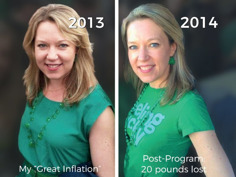 Before and After picture of One Degree Health's founder, Danielle Atcheson. She lost 20 pounds with our trademarked wellness program.
