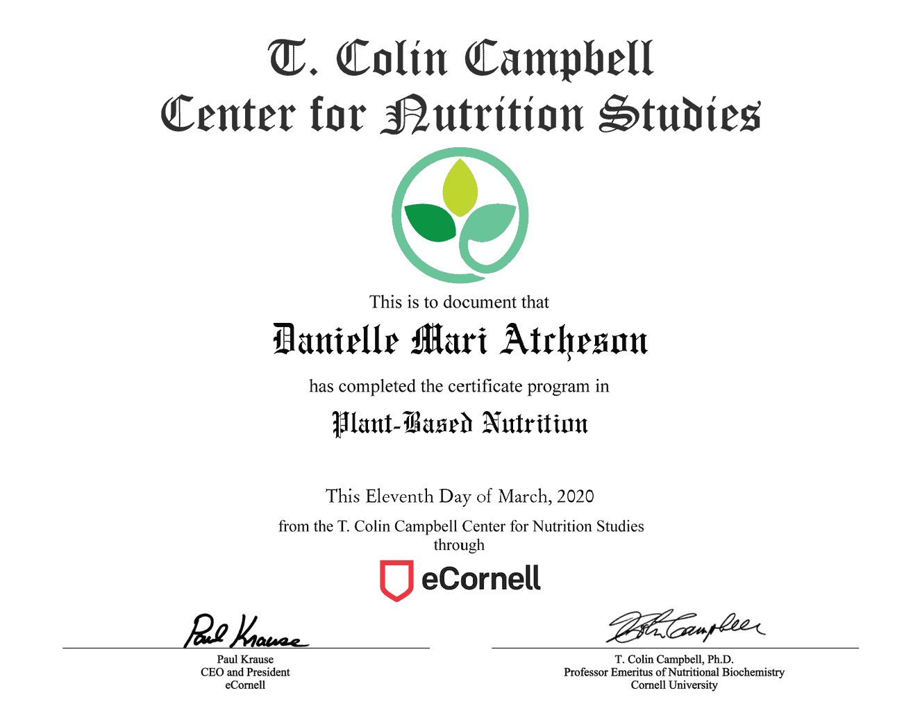 Cornell Plant-Based Nutrition Graduate